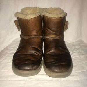 UGG Shoes - Ugg Daelynn short shearling boots leather brown 8